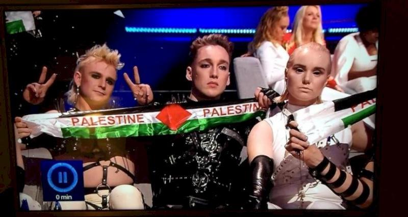 فيديو: علم فلسطين وغزة يحضران في الحفل الختامي لليوروفيجن في تل أبيب