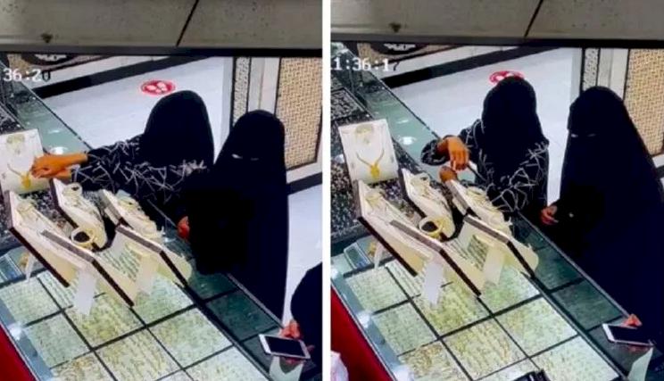 """شاهد- منقبتان تسرقان محل """"ذهب"""" في السعودية.. وهذا ما حدث في آخر لحظة!"""